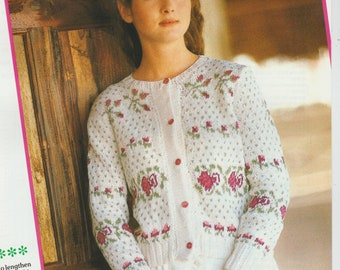 Cardigan with Bands of Roses knitting Pattern PDF File (D12)