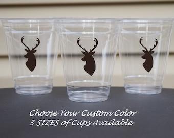 20 Buck Cups, BPA Free 9 12 & 16 oz Cups, Wedding Antler Cups, Buck Baby Shower Cups, Country Baby Shower, Deer Head Cups, Buck Head Cups