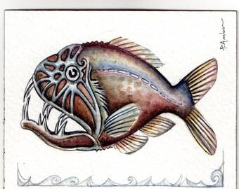 Original ACEO ..deep sea fish ..  watercolour not a printT card