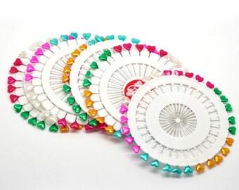 """Heart Sewing Pins - Set of 30 pins - 2 1/8"""""""