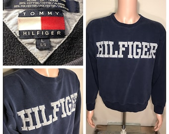 Vintage Tommy Hilfiger sweatshirt // 90s crewneck // adult size large // embroidered spell out // blue gray // cotton poly blend