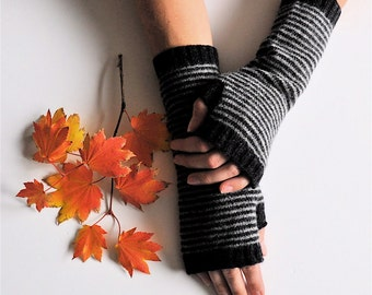 Long Fingerless Gloves, Hand Warmers, Charcoal & Gray Stripe, Made to Order