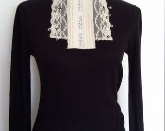 Edwardian top, S, M, angora sweater, black sweater, lace sweater, lace top, black top, vintage black top, vintage lace top