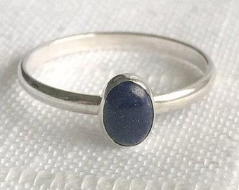 Lapis Lazuli Stacking Ring in Sterling Silver Stacking Ring Blue Lapis Ring Blue Lapis Stacking Ring