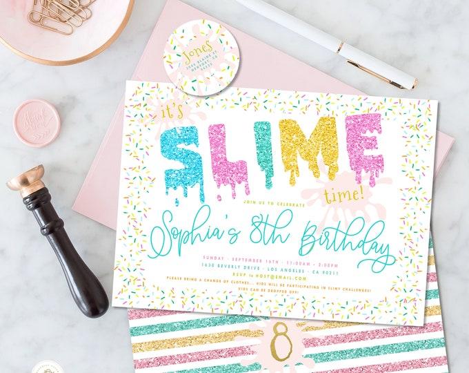 SLIME invitation | Slime Birthday Invitation | Slime Party invitation | Double Dare invitation | Glitter Slime Party | Slime theme