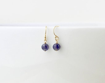 Iolite Drop Earrings - September Birthstone Earrings - Water Sapphire Dangle Earrings - September Water Sapphire Gift - September Earrings