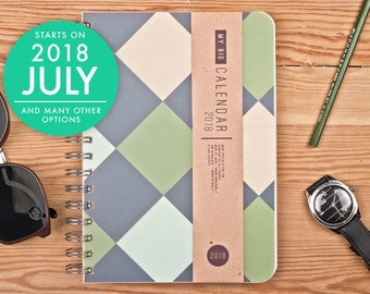 2018 2019 Weekly planner for him High quality paper! Geo pattern A5 Diary! Weekly Calendar Calendario Kalender Agenda Journal! Open-dated