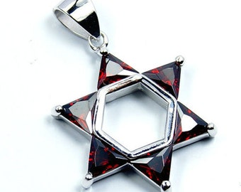 Jewish Star of David Pendant Red CZ & .925 Sterling Silver Pendant Star Necklace T71 The Silver Plaza