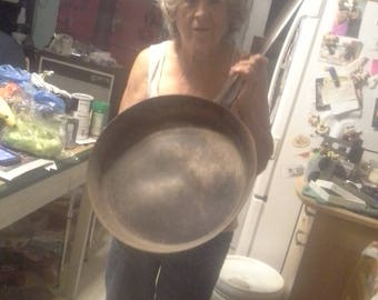 HUGE hand wrought antique skillet made by Sam Abrams of Sayville New York in the 1950's