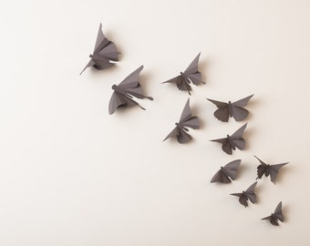 3D Wall Butterflies: Smoke Grey Butterfly Silhouettes for Home Decor, Nursery, Children's Room