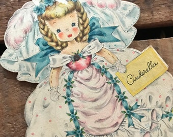 Vintage Hallmark Doll Card, Unused, Cinderella, Hallmark Dolls, Hallmark Collectors Paper Doll,  Land of Make Believe Doll Card, Fairy Tale