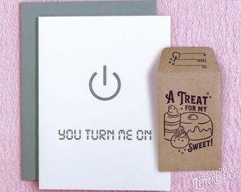 Letterpress Greeting Card and Gift Card Holder- You Turn Me On Gifts for Him / Gifts for Her