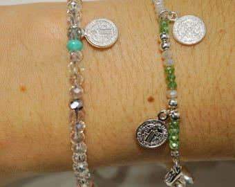 """Dainty """"faith"""" beaded/coin bracelets"""