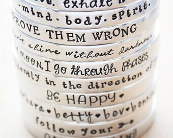 Personalized Cuff Bracelet - Inspirational Bracelet - Aluminum Hand Stamped Custom Cuff - Quote Jewelry - Inspirational Jewelry