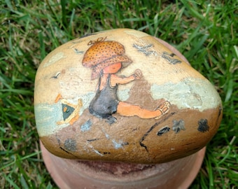 "Vintage Hand Painted Rock"" Little Girl by the Ocean"""