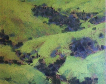 View from the Pass - small original pastel painting california green hills ocean sea valley