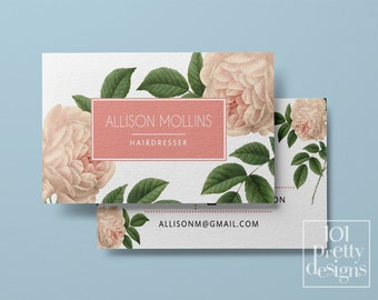 Vintage business card template  printable business card designroses business floral business card design botanical pink roses pink and white