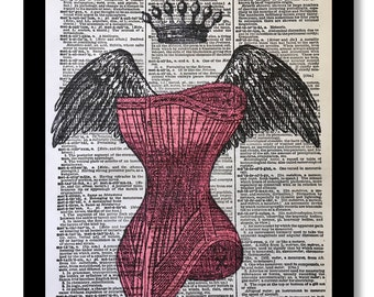 Angel Wing Corset With Crown, POP ART, Angel Wing, Deep Pink Color Vintage Corset Print, Angel Wing Corset, Pink Art Print