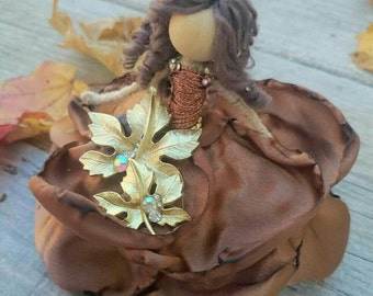 Designer Flower Bendy Doll ~ Dainty Autumn Fairy ~ OOAK Waldorf ~ Thanksgiving Figurine