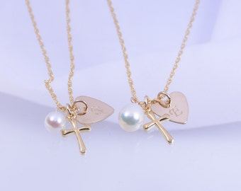 Mother daughter cross gold necklace set, Gold cross and heart initial disc necklaces