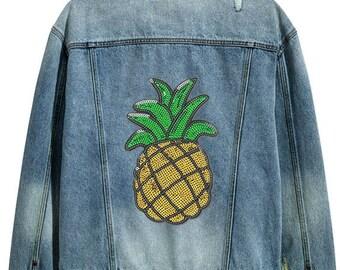 Sequin ananas Patch - Collection paillettes - autocollant et correctif (P189)