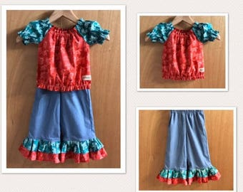 Cotton Top and Denim Ruffle Pants, size 3t