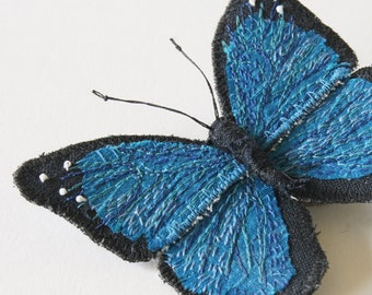 Menelaus Blue Morpho Textile Brooch Embroidery Silk Linen Natural History Wildlife Fiber Art Jewelry Nature Lover