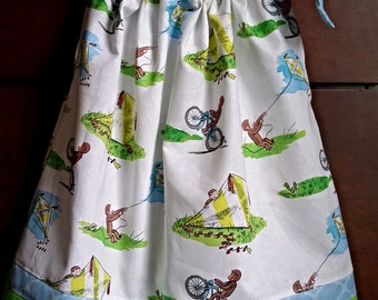 Handmade Curious George pillowcase dress any size