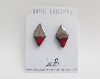 Ceramic stud earrings, Red studs, Geometric earrings, Minimalist studs, gift for her