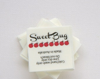 """140 -1.5"""" x 1.5""""  - Fabric labels. In-seam fold style sewing label."""