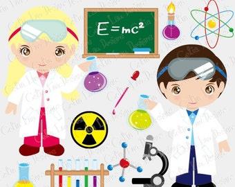 Cute Scientist Digital Clipart, Mad Scientist clip art (CG034), Scientist Kids, Science Clipart / INSTANT DOWNLOAD