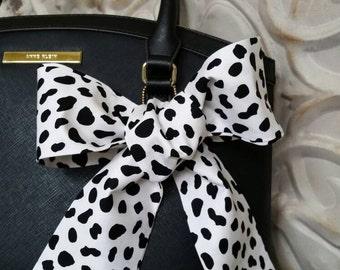 Cow Print Graphic Purse Scarf, Black, White Scarf, Neck Bow, Hair Wrap, Hatband, Wrist Scarf
