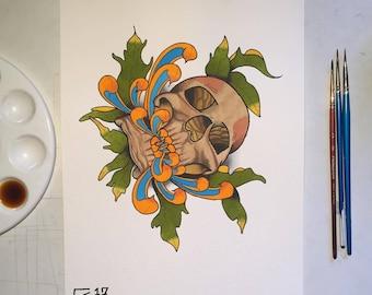 Skull flower A4