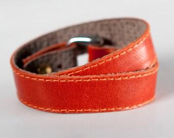 Orange leather cuff, orange double wrap bracelet cuff  - CUBE bracelet