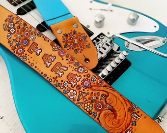 Custom Leather Guitar Strap - Wildflowers and Feathers - Acoustic or Electric - Feminine Personalized Design - Hand Tooled and Painted