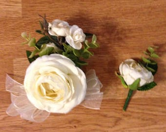 Angel wings corsage and boutonniere set