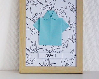 Frame for girl or boy personalized origami shirt