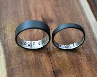 Secret Message Rings. Custom Stamped Oxidized Sterling Silver Wedding Bands. Personalized. 6mm. 3.7mm. Wedding Ring Set. Wide Flat Rings.