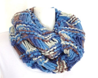 Infinity cowl scarf, chunky shawl, Shoulder wrap, Hand knit thick cowl, Warm neck wrap, stole scarf, knitting scarf