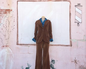 Vintage 1970s Milk Chocolate Velvet Pant Suit (Size 2)