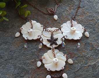 Seashell Statement Necklace - Floral starfish bib necklace for a beachy boho bride - carved shell flower necklace - mermaid jewelry -