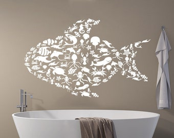 Fish Wall Decal Sea Decorated Animals Ocean Nautical Marine Home Decor Vinyl Sticker Decals Bathroom Nursery Bedroom Decor NV148