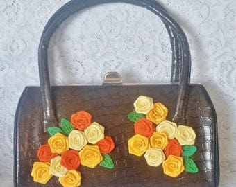 Vintage,Embossed, Brown Handbag, Newly Adorned with Satin Ribbon Flowers and Crochet Leaves