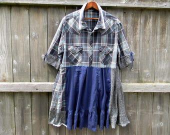 Upcycled Women Tunic Dress Plus Size Clothing XL Tunic Shabby Cottage Chic Lagenlook Tunic Artsy Upcycled Women Dress