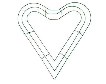 Heart Shape Best Quality Green Metal Wreath Form Frame - 15in | Floristry Craft Supplies