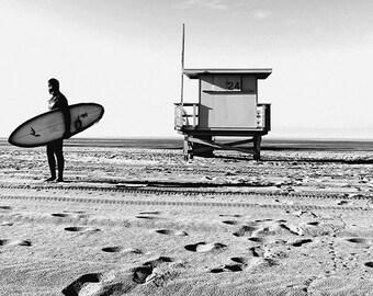 Lone Surfer, Santa Monica, California, Lifeguard Station Beach Sand Surf Morning Black White Fine Art Photograph Print Photography