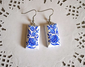 blue earrings Handmade wood earrings hand painted Jewelry Boho earrings wedding blue|and|white valentines day gift ideas|for|her womens gift