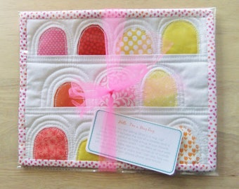 Quilted Mug Rug snack mat, pink yellow orange Gift basket ideas for women, mini quilt kitchen counter mat, large coaster, small placemat