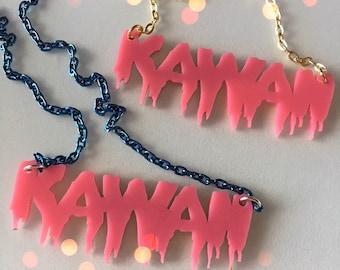 KAWAII bubblegum pink laser cut necklace