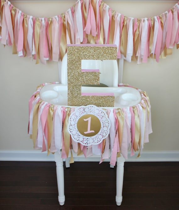 Pink and Gold Shabby Chic Rag Tie Garland Highchair Banner